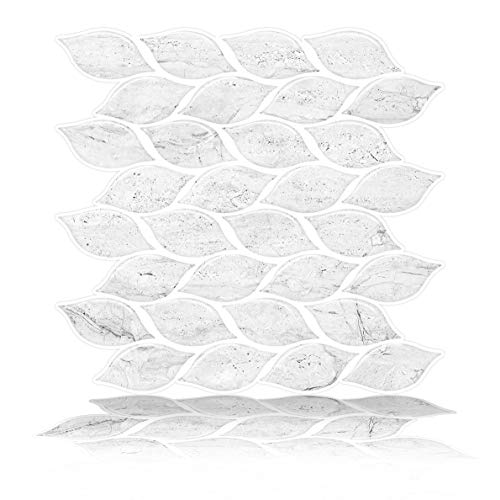 Tic Tac Tiles Pelar anti moho y enchufe de pared de azulejos pared posterior En el diseño Foglia 6 Blanco