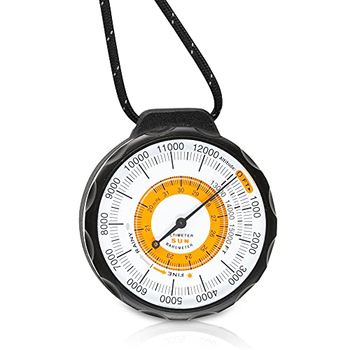 Sun Company Ascent Altimeter - Battery-Free Altimeter and Barometer | Weather-Trend Indicator with Rugged Aluminum Case and Reflective Lanyard | Reads Altitude from 0 to 15,000 Feet
