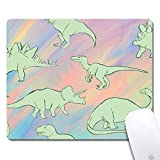 Mouse Pad with Stitched Edges,Green Cartoon Dinosaur Customized Design Extended Gaming Mouse Pad Anti-Slip Rubber Base Ergonomic Mouse Pad for Computer -Black Rectangle