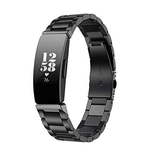 Ontube Inossidabile Braccialetto di Ricambio Cinturini Metallo Bracelet Compatibili con Fitbit Inspire/Inspire HR (Nero)