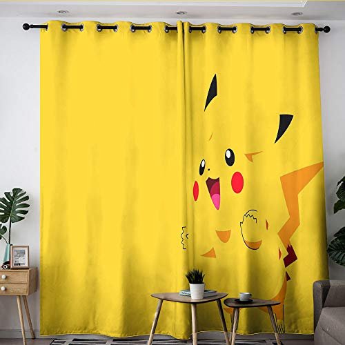Elliot Dorothy poke-mon Pika-chu cartoon Noise reduction curtains Curtains for Living Room Waterproof Window Curtain for Bedroom Living Room kitchen W63 x L63