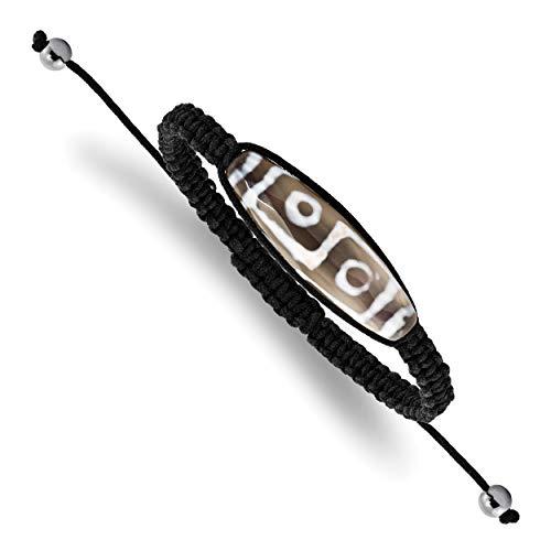 Saris and Things ágata del Ojo no Tipo de Metal 11x38mm tíbet con Cable de hematita Pulsera Perlas Negro