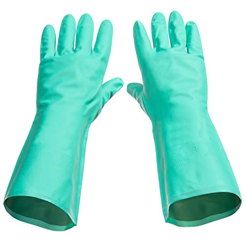 Tusko Products Best Nitrile Rubber Cleaning, Household, Dishwashing Gloves, Latex Free, Vinyl Free, Medium M (Reusable not Disposable)