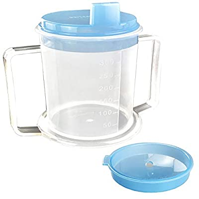 Drinking Cup/Beaker/Mug/Sippy Cup for Disabled Adults with Easy Grip Handles Anti Splash Spout and Travel Lid