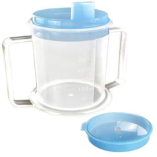Trinkbecher / Trinkbecher / Schnabeltasse für Erwachsene mit Behinderten und griffigen Griffen, Anti-Spritztülle und Reisedeckel