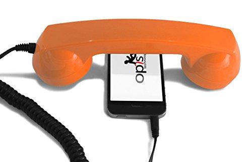 Opis 60s Micro - Retro Handyhörer für Smartphones und Handys in der Form eines klassischen Telefonhörers (orange)