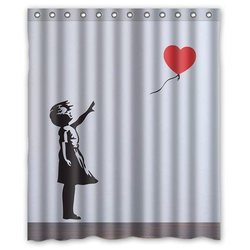 chatae Banksy Balloon Girl navidad regalo Diseño Resistente al agua del baño plástico Cortina de ducha con 12hooks 152,4x 182,9cm