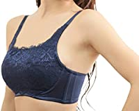 PixyParty(ピクシーパーティ) 大きな胸を小さく魅せるナイスブラ 補正ブラジャー (ネイビー, E70)