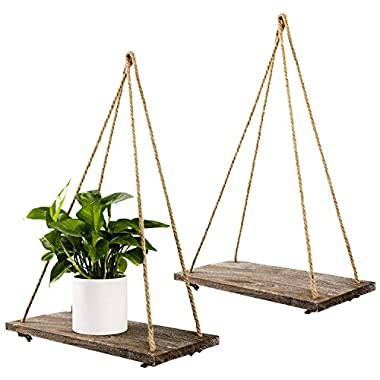 TIMEYARD Decorative Wall Hanging Shelf - Distressed Wood Jute Rope Floating Shelves - Rustic Home Decor - Set of 2