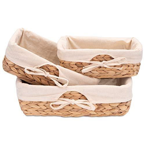 Decorasian 3er Set Brotkörbchen geflochten aus Seegras mit Leinentuch - Wasserhyazinthe - Brötchenkorb