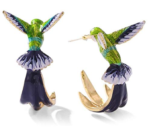 TTCPUYSA Pendientes de colibrí Lindo Pendientes de Pintura al óleo de colibrí...