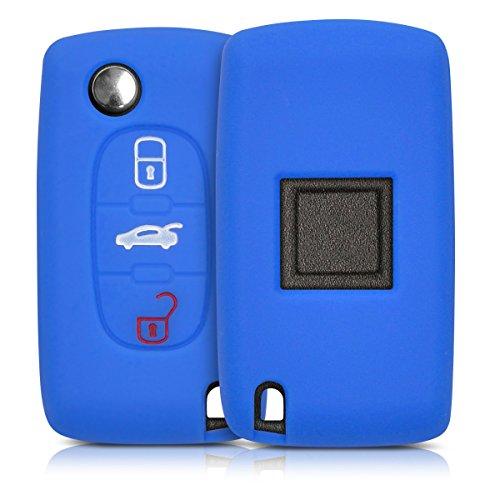 kwmobile Funda de Silicona Compatible con Peugeot Citroen Llave de Coche de 3 Botones - Carcasa Suave de Silicona - Case Mando de Auto Azul