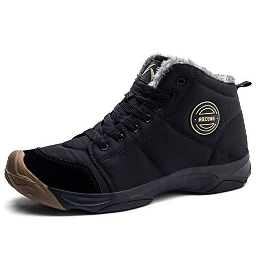Axcone Chaussures Homme Femme Bottes Hiver imperméable Neige Randonnee Chaudement Chaudes Fourrure Baskets Bottines - 6118 Noir 46EU