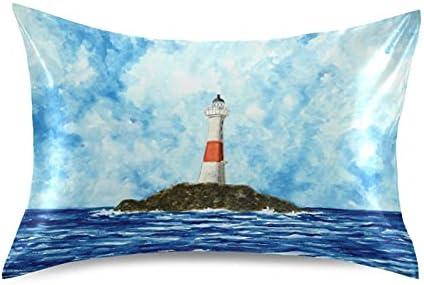 TropicalLife San Diego Mall Meetutrip Ocean Sea Painting Satin Pillo Lighthouse Quantity limited