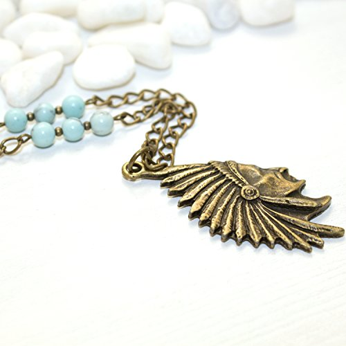 Native American Chief Necklace - Boho Gift Blue Stone Unique Handmade Southwestern Jewelry - Made in the US