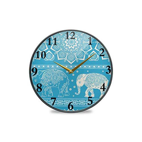 Vintage-Wanduhr mit abstraktem Tiermotiv, Elefant, Mandala, dekorative Uhr, moderne Uhr, batteriebetrieben, geeignet für Esszimmer, Küche, Büro, Klassenzimmer, plastik, multi, 9.5x9.5in