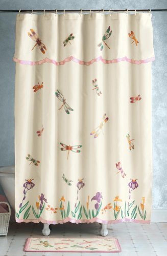 Cream shower curtain with dragon flies and flowers