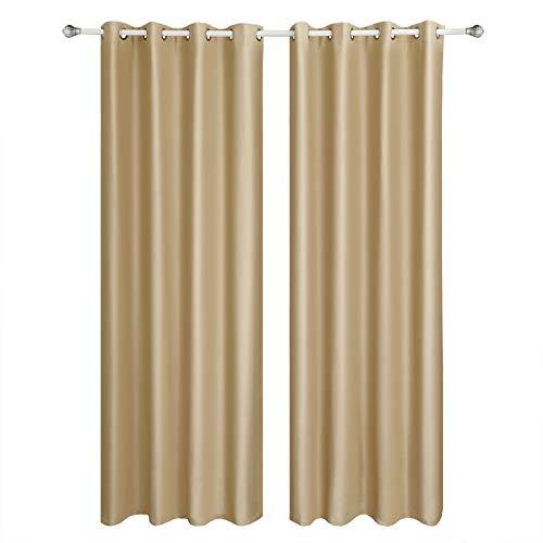 SONGMICS Cortinas 2 Piezas Blackout Curtain Opaca con Ojales 145 x 245 cm Color Champán LRB245E-2