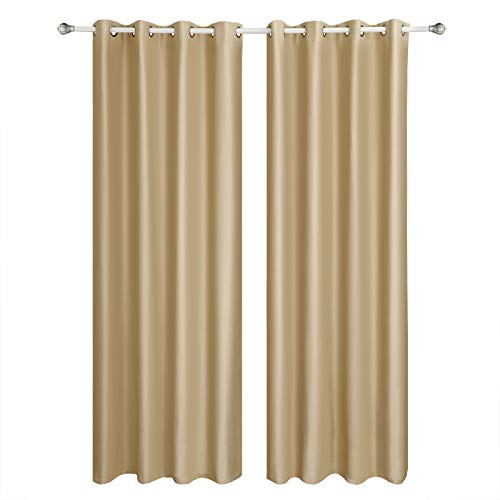 SONGMICS Cortinas 2 Piezas Blackout Curtain Opaca con Ojales 145 x 245