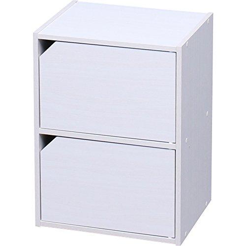 アイリスオーヤマ カラーボックス 収納ボックス 本棚 2段 扉付き 幅36.6×奥行29×高さ49.4cm オフホワイト モジュールボックス MDB-2D