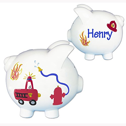 Boy's Fire Truck Piggy Bank - Hand Painted Personalized Large White Ceramic Fireman Piggybank
