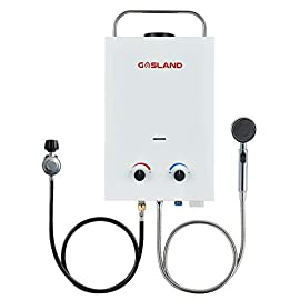 Tankless Water Heater, GASLAND Outdoors BS158 1.58GPM 6L Portable Gas Water Heater, Instant Propane Water Heater… 3 🎁【CSA Approved Safety 】CSA approved Gasland tankless water heater, safe as per Canadian and US Standard. Flame failure device, anti-freezing protection, over heating protection to ensure the family safety. Automatically decrease water pressure between 2.5-110PSI. The anti-freezing drain plug can discharge the residual water to avoid freezing in cold areas or in case of long time no use. High water temperature protection over 167 °F. Shut off gas supply automatically under unexpectable flameout. 🎁【Lightweight Portable Design】 Compact size and lightweight design for easily carry. It can bring a amazing hot shower for you when you are camping , to the beach, etc. Also you can wash your pets with this tankless water heater in outdoor. Hang it using the mounting bracket on the top/back of the gas water heater. It only takes you a few minutes to install it. Or you can install it according to the instructions. 🎁【On Demand Hot Water】 Maximum power output 41,000btu/hour, get instant endless hot water easily wherever you are. No need to preheat before using tankless water heater. As soon as you turn on the tap, the water flows with your desired temperature. Low water pressure start up, just need 2.5 PSI of water pressure. 1.58 gallons per minute of on-demand hot water. Fully adjustable heat and water flow.