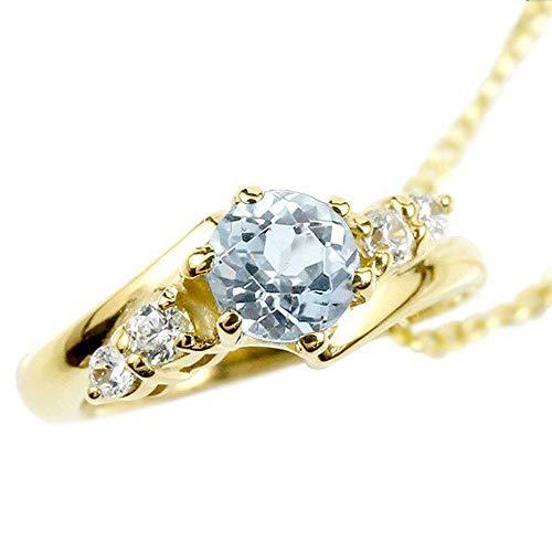 [アトラス] Atrus ネックレス メンズ 18金 イエローゴールドk18 アクアマリン ダイヤモンド ベビーリング ペンダント トップ 3月誕生石 チェーン(sv925イエローメッキ)