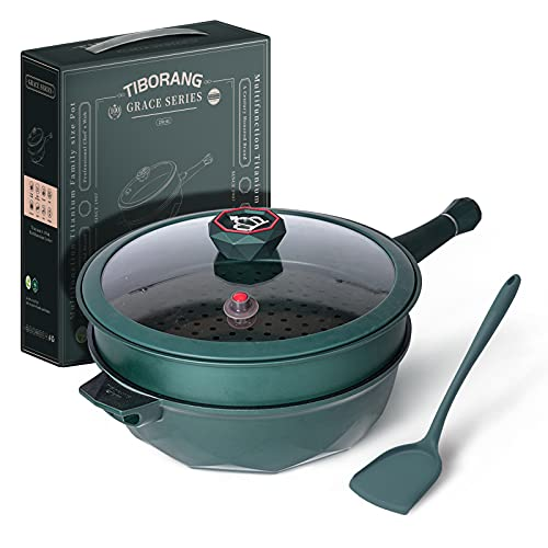 TIBORANG 7 in 1 Multipurpose Heat Indicator Deep Frying Pan with Lid, 5 Quart Nonstick Saute Pan with 7-layer Coating,Deep Skillet with Cover, Stay-cool Handle, Steamed Grid, PFOA-Free, 11 Inch(Green)