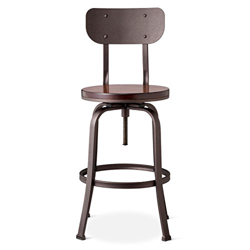 "29"" Dakota Backed Adjustable Barstool Antique Hammered - Threshold™"