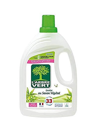 L'ARBRE VERT - Lessive Liquide au Savon Végétal - Hypoallergénique - Sans allergènes - 33 lavages - 1,5 L - Certifiée Écolabel Européen - Approuvée par les médecins allergologues de l'ARCAA