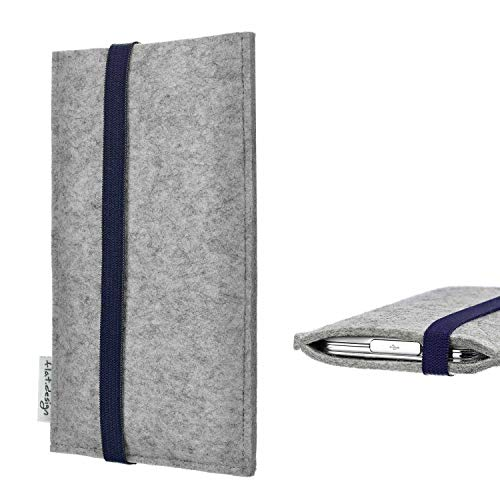 flat.design Handy Hülle Coimbra kompatibel mit BlackBerry KEY2 Red Edition - Schutz Hülle Tasche Filz Made in Germany hellgrau blau