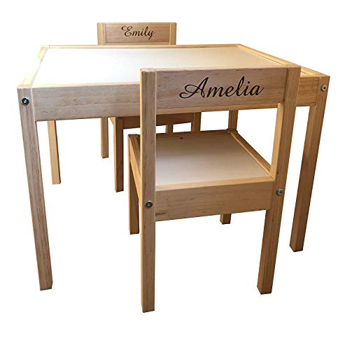 MakeThisMine Personalised Children's Ikea Wooden Table and Chairs Engraved with 2 Names of Your Choice Ideal Keepsake Gift for Kids Girls Friends Boys Family(Engraving Back)