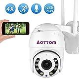 Aottom 1080P PTZ IP überwachungskamera Aussen, 360° Drehen IP Dome Kamera WLAN 2MP, 4X optischem Zoomobjektiv Outdoor Kamera, 2 Wege Audio 40m IR-Nachtsich, IP66 Wasserfest, Unterstützung 128G Karten
