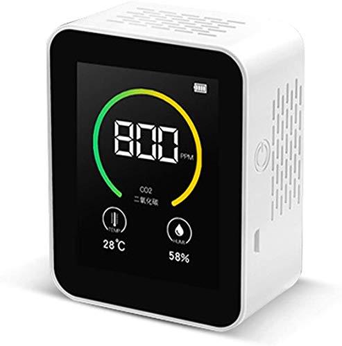 二酸化炭素濃度計 二酸化炭素計 co2メーターモニター 空気質検知器 センサー 空気品質 TVOC 高精度 多機能 濃度測定 リアルタイム監視 温度湿度表示付き USB充電 400-5000PPM測定範囲 (白1)