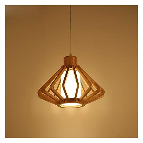 Lámpara de mesa de madera maciza para restaurante y comedor LED para sala de estar, estudio de madera creativa con cono de pino lámpara decorativa [Clase energética A +]