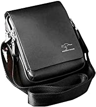 Tinksky Men's Vertical PU Shoulder Bag Messenger Bag gifts for men - Size M (Black)