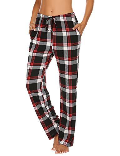 Schlafanzughose Damen Lang Pyjamahosen Schlafanzug Karierte Hose Nachtwäsche Freizeithosen Hausehose Schlafhose mit Elastischer Taille Taschen Schwarz L