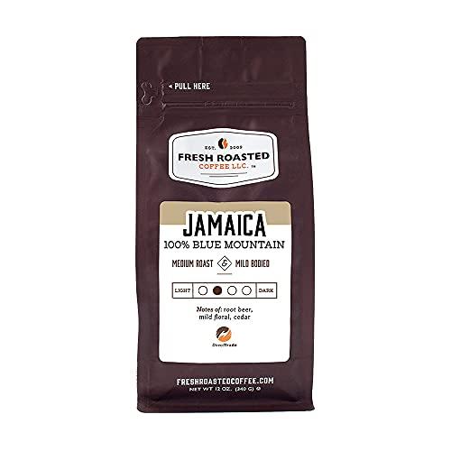 Fresh Roasted Coffee, 100% Jamaica Blue Mountain, Medium Roast, Kosher, Whole Bean, 12 Ounce