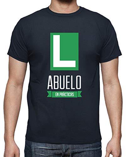 latostadora - Camiseta Abuelo en Practicas para Hombre Azul Marino L