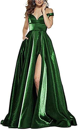 P PROMSTAR Off Shoulder V Neck Satin Prom Dresses 2021 Long Slit Ball Gown with Pockets for Women Dark Green Size 6