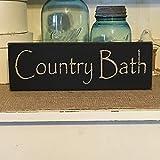 CELYCASY Farmhouse Decor,Country Bath, Wood Sign, Bath Sign, Country Decor, Primitive Decor, Primitive Sign, Bathroom Decor, Primitive Bath Sign