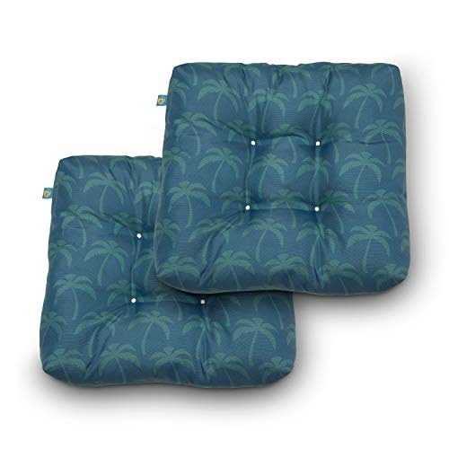 Duck Covers Water-Resistant 19 x 19 x 5 Inch Indoor Outdoor Seat Cushions, Blue Oasis Palm, 2-Pack