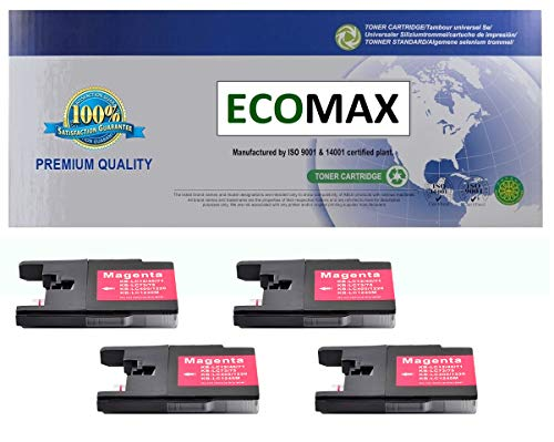 4-Pack MAGENTA Compatible Ink for Brother LC75M For MFC-J280W, MFC-J425W, MFC-J430W, MFC-J625DW, MFC-J825DW, MFC-835DW, MFC-5910DW, MFC-J6510DW, MFC-J6710DW, MFC-J6910DW