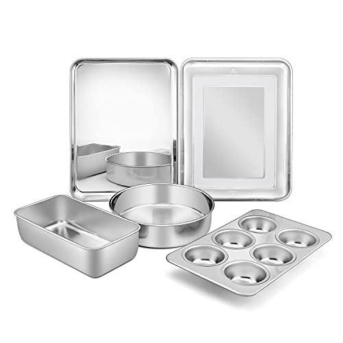 6-Piece Bakeware Kitchen Set, P&P CHEF Stainless Steel Bakeware Pans Sets, Including Baking Pan/Round Cake Pan/Muffin Pan/Loaf Pan/Deep Lasagna Pan & Lid, Non-toxic & Durable, Dishwasher Safe
