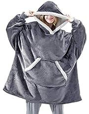 Unisex luvtröja filt sweatshirt, sherpa gigantisk pullover med stor framficka, ultramjuk sherpa fleece varm, överdimensionerad bärbar filt Oodie huggle hoodie, TV-filt för män, kvinnor