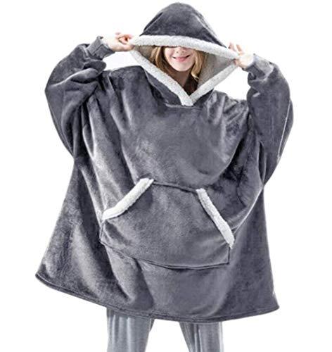 Unisex huvtröja filttröja, sherpa jätte-pullover med stor framficka, ultramjuk sherpa-fleece varm, överdimensionerad användbar filt med huva, barn TV-filt för män, kvinnor