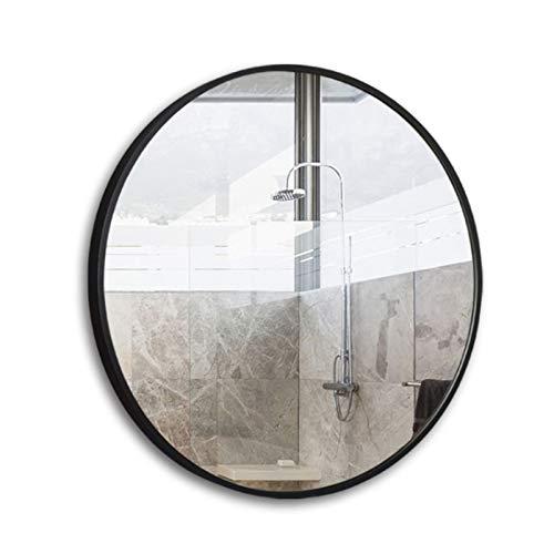 ZKLNO Espejo De Baño Minimalista Nórdico, Inodoro De Pared para El Hogar Tocador Redondo De Aleación De Aluminio Espejo De Maquillaje Sala De Estar Porche Espejo Decorativo,Negro,60CM
