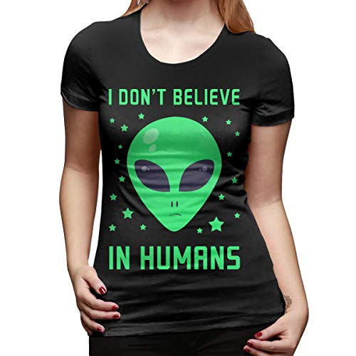 WoodWorths Don't Exist Alien Women Short Sleeve T Shirt Tees Sport Summer(Medium,Black)