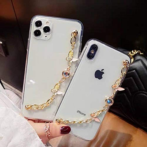 Linda caja del teléfono de la cadena de la pulsera del diamante de imitación de la mariposa 3D para el iPhone 12 11PRO X XR XS Max 6S 7 8 Plus Cubierta de lujo clara suave, 1, para el iphone 12MiNi