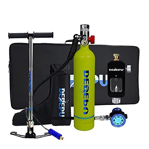 QHYAH Equipo de Tanque de Buceo, Mini Tanque de Buceo con Bomba, Botella de Aire de oxígeno Equipo bajo el Agua Respiración con 15-20 Minutos, 1L Mini Kit de Cilindro de oxígeno de Buceo